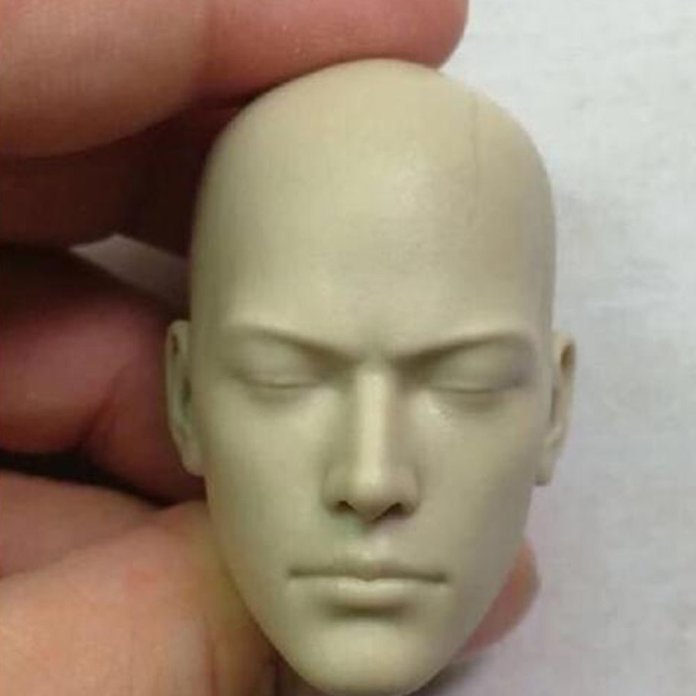 1//6 Man Head Unpainted Red Skull Smith Hugo Vivian Sculpt Carved Fit Action Doll