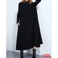 Large size women's dress plus size 5XL 6XL 8XL 9XL 10XL bust 150CM autumn high collar long sleeve loose large size blue dress