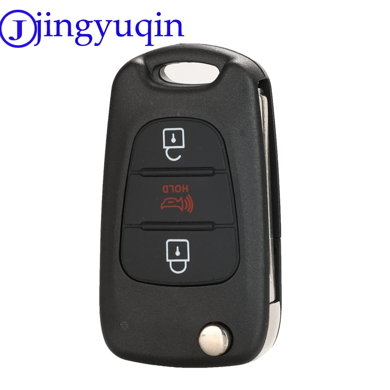 Jingyuqin Car Key Case Shell For KIA Rondo Rio Soul Sportage Sorento K5 K2 For Hyundai I20 I30 I35 Folding Remote Key Fob Cover