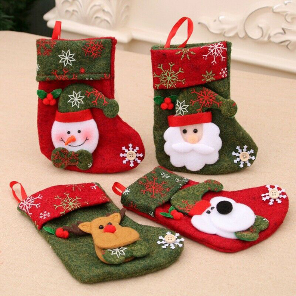 New Arrival Women Socks Cute Christmas Bags Day Baby Stocking Gift Box Xmas Tree Decoration Candy Bags Coral Wool Socks #Z