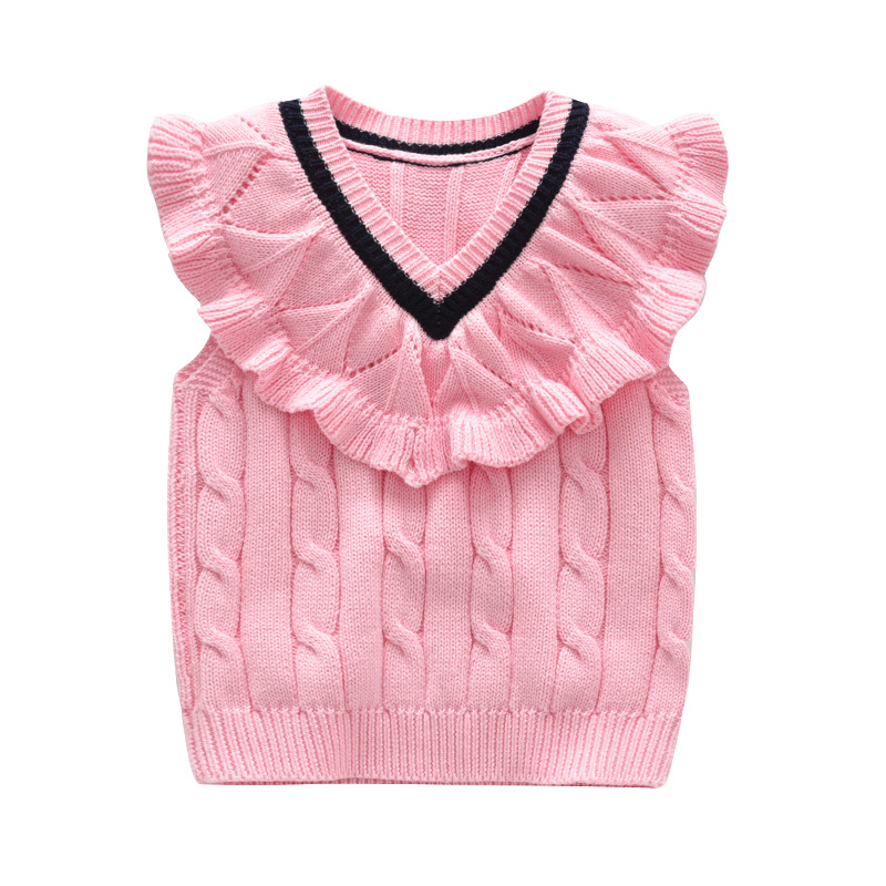 2019 Autumn And Winter New Style Europe And America Kids' Sweater Pure Cotton Lace Vest Girls Pure Cotton Waistcoat