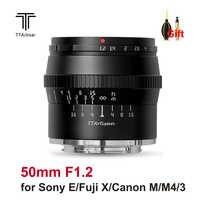 TTArtisan-lente de cámara F1.2 de 50mm, lente de enfoque Manual APS-C de gran apertura para cámara Sony E Fujifilm X Canon M M4/3 M43