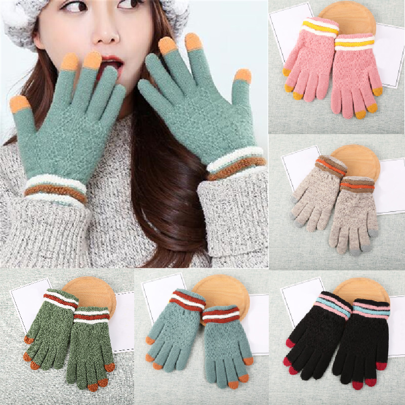 Women Fashion Wool Knitted Gloves Warm Winter Casual Wrist Touch Solid Screen Mittens Winter Gloves Handschoenen Guantes