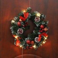 Рождественский венок с батареей, светодиодный светильник, гирлянда для передней двери, подвесная гирлянда, праздничные украшения для дома, ...