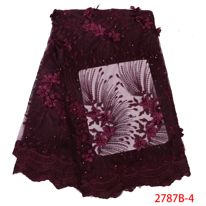 High Quality Mesh Tulle Lace Fabric,High Quality Nigeria French Laces With 3D Flowers,Latest Lace Fabric With Beads KS2787B-4