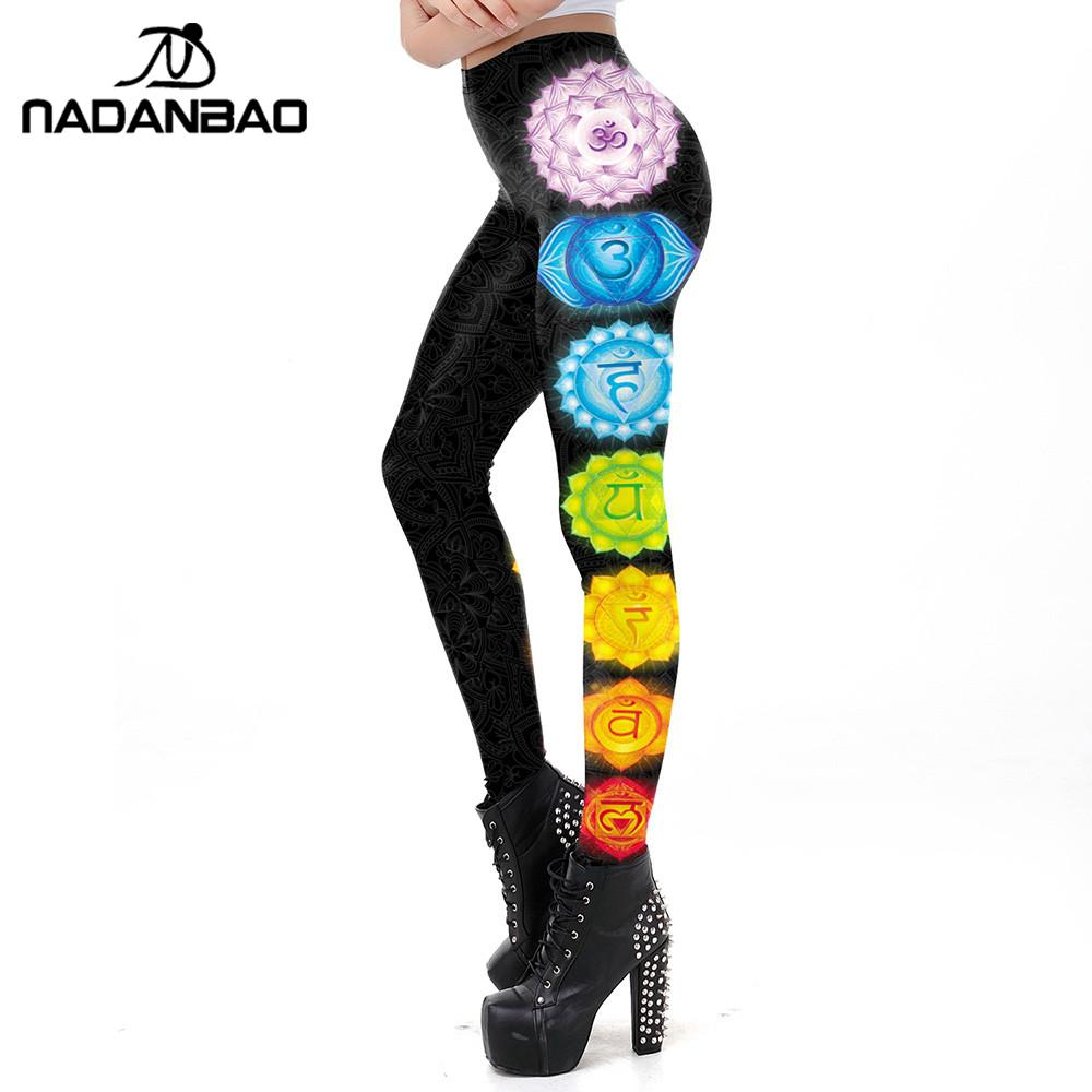 NADANBAO Seven Chakra Mandala Leggings Women Workout Pants Aztec Round OM Printed Leggins Fashion Outdoor Legins Plus Size