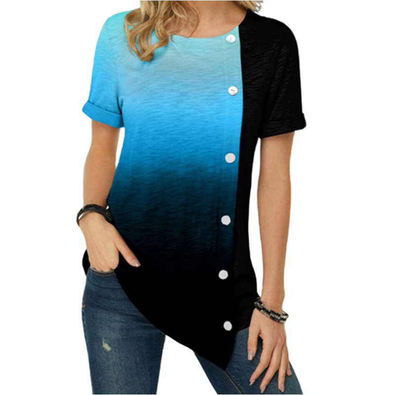 Plus Size S-5XL Women Casual Button Tshirt Short Sleeve 2020 New Gradient Color Print Shirt Top Round Neck Womens Short Tshirts