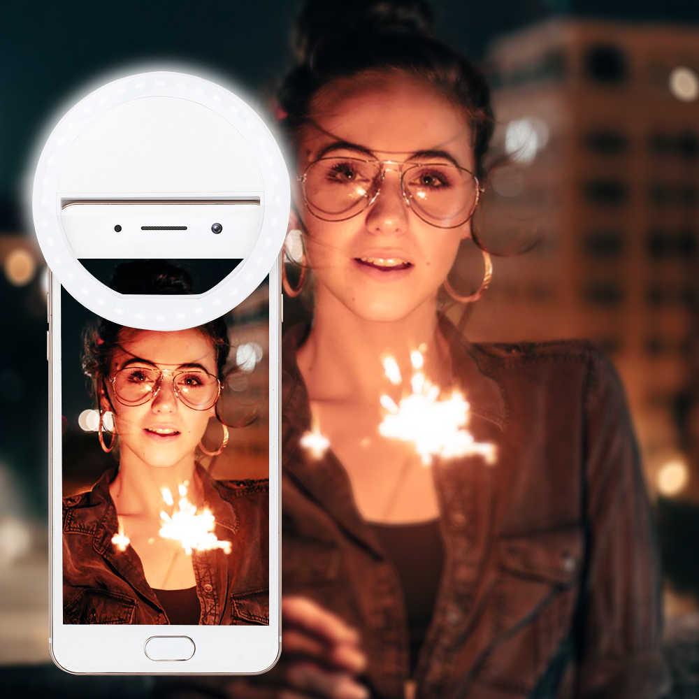Nuevo USB carga LED Selfie anillo luz para Iphone iluminación suplementaria noche oscuridad Selfie mejora para la luz de relleno del teléfono
