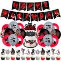 1 комплект сирены с мультяшным котом латексные шары игрушки черный, красный страшно Sirenhead клипсы для воздушных шаров, баннер с днем рождения ...