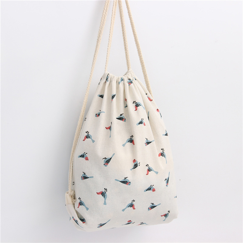 Fashion Women Sparrow Drawstring Beam Port Backpack Shopping Bag Travel Bag Drawstring Backpack Worek Plecak Sznurek Pocket