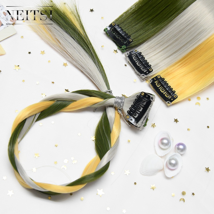 Neitsi 20 One Set Synthetic Hair Extensions Straight Long Clip In Piece Ombre Color Hairpiece 3 6pcs/set