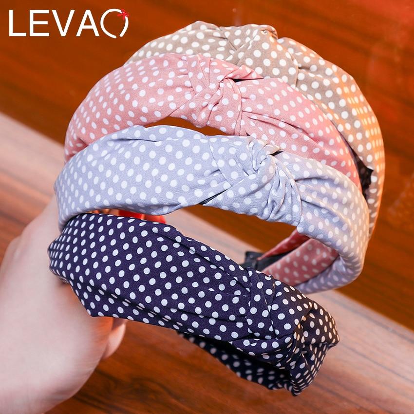 Levao Korea Women Top Knot Hairband Print Dot Striped Plaid Headband Hairbands Hair Holder Turban Fashion Hair Accessories