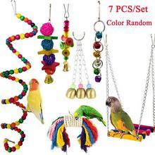 Cute 7PCS/Set Parrot Birds Toy Kit Swing Hanging Bells Wooden Bridge Accessories Bird Toy Standing Training Pet Tool