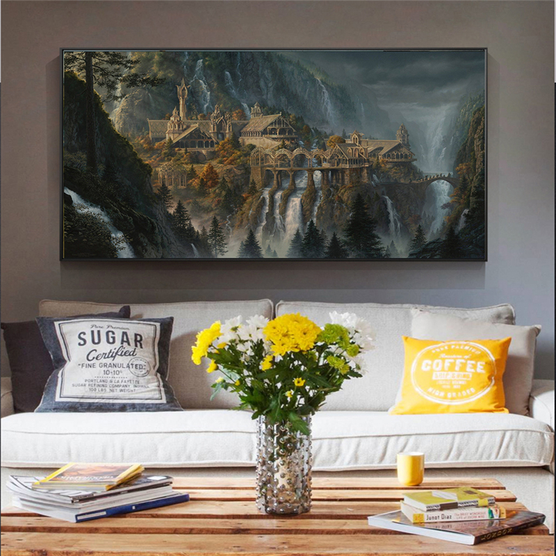 Movie Posters Lord of The Rings Rivendell Fairyland Oil Painting on Canvas Wall Art Pictures for Home Living Room Decoration(China)