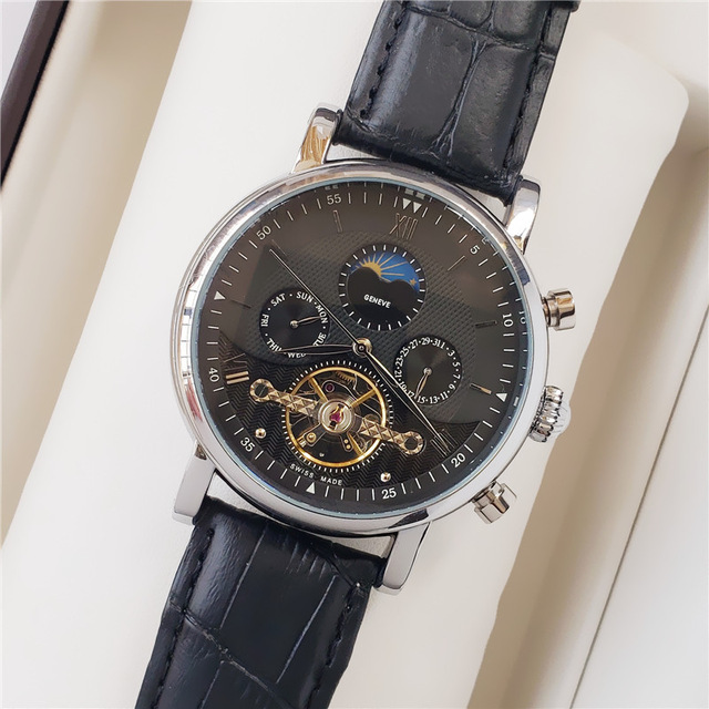 Luxury watch automatic mechanical calendar 44mm large steering wheel sapphire watch stainless steel business