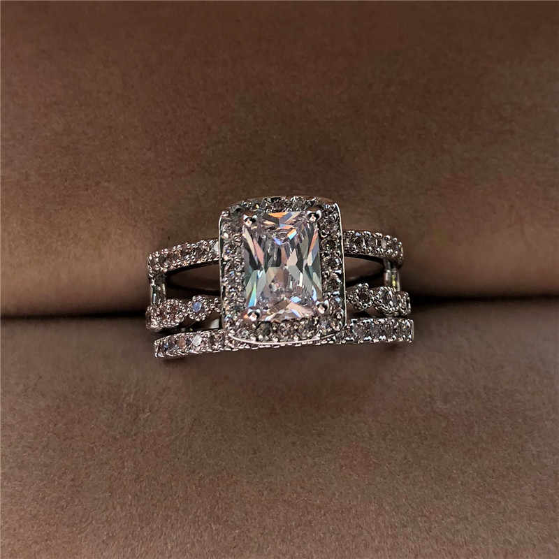 Luxury Female Crystal ZircoN Ring Set Vintage 925 Silver Wedding Rings For Women Fashion Bridal Engagement Ring