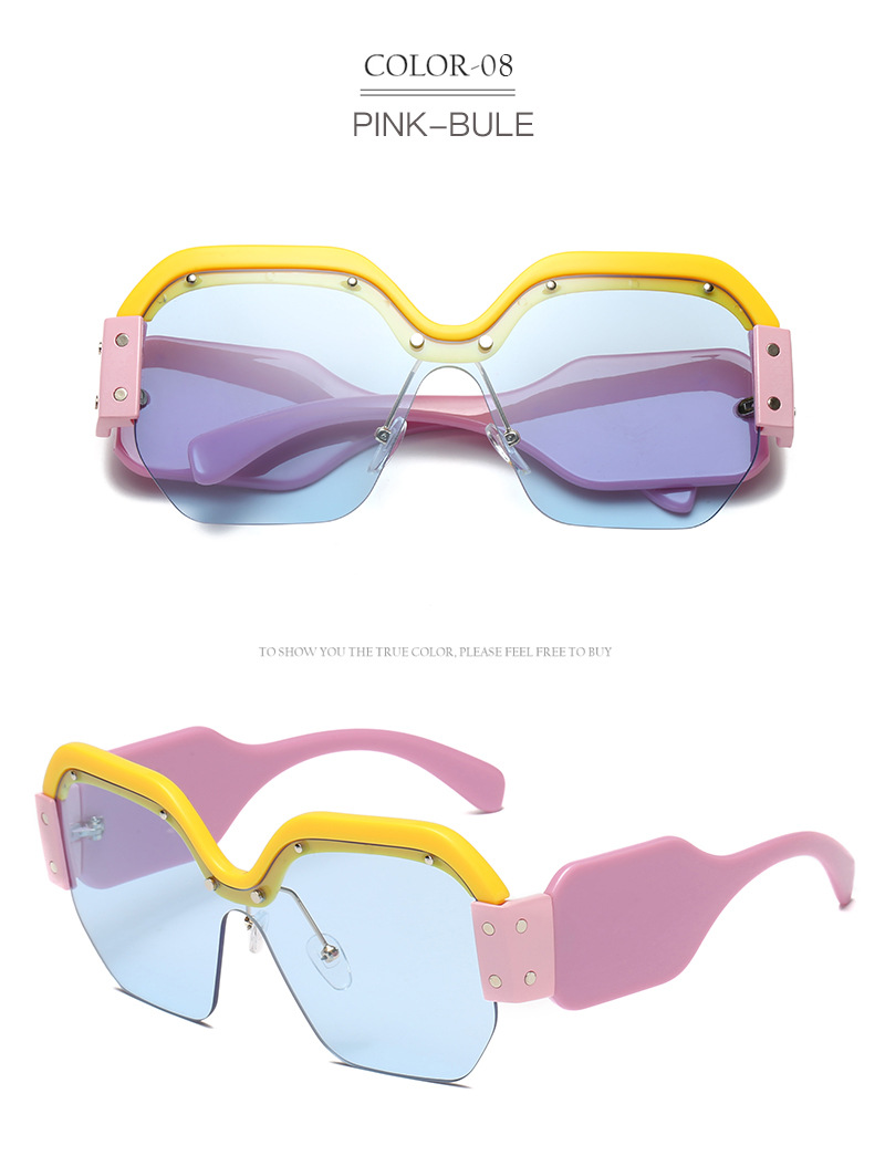 Hfa7412ed55f04e4e93d82206907c83bfA - Sexy Rimless Oversized Sunglasses Women Vintage Red Pink Luxury Brand Sun Glasses For Female Rivet Big Frame Male Shades