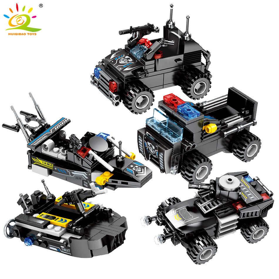 HUIQIBAO 695 шт. 8в1 военные Swat командные строительные блоки для автомобилей городской полиции фигурки оружие Грузовики Игрушки для детей