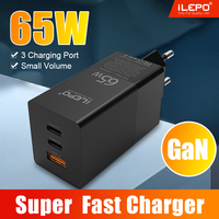 65W GaN PD USB Ladegerät 3 Port Quick Charge PD 4,0 3,0 QC 3,0 Typ C 65w Schnelle ladegerät Für iPhone 12 Pro MAX Macbook Samsung Laptop
