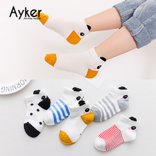 5 Pairs/lot Baby Girl Socks Summer Cotton Children Color Cute Animal Boy Short Kids Wholesale