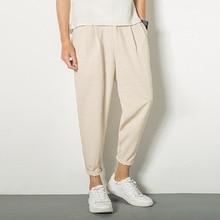 Японский винтажный льняной плед карман крест Широкий свободный промежность шаровары в стиле хип-хоп джоггеры уличная одежда до лодыжки брюки размера плюс корейский