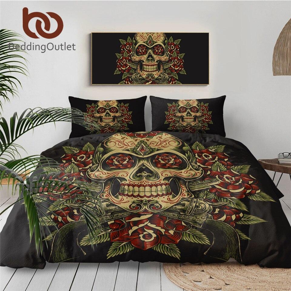 BeddingOutlet Floral Skull Bedding Set King Vintage Duvet Cover 3pcs Sugar Skull Gothic Bedclothes Flowers Black White Bed Set