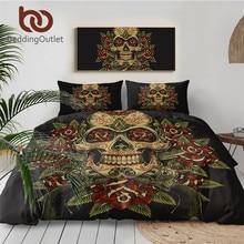 BeddingOutlet Floral juego de ropa de cama con calavera rey Vintage edredón funda nórdica de 3 uds azúcar cráneo gótico ropa de cama flores blanco y negro juego de cama