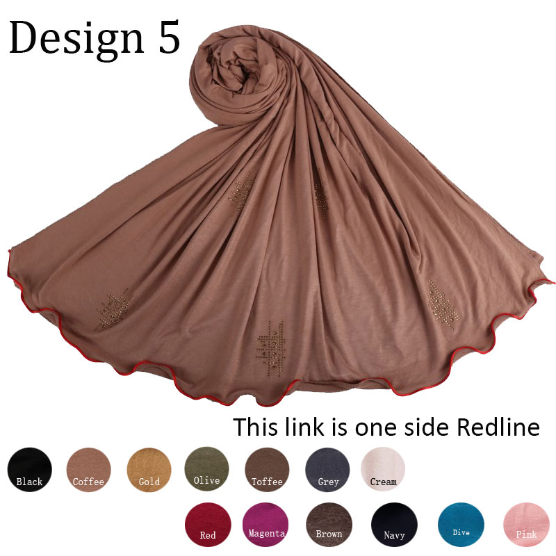 Redline D05-Cotton Diamond Shawl Stretchy Jersey Hijab Scarf With Rhinestone One Side Red Line For Muslim Women 2020 Netherlands