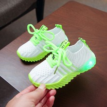 Toddler Boy Shoes Children Kid Baby Girls Boys Shoes Candy Color Led Luminous Sport Run Stretch Fabric Sneakers H0909