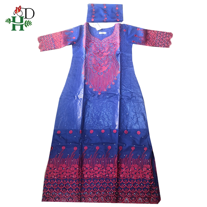 H&D African Dresses For Women Dashiki Print Traditional Plus Size Women Dress Bazin Maxi Dress With Turban Roupa Africana