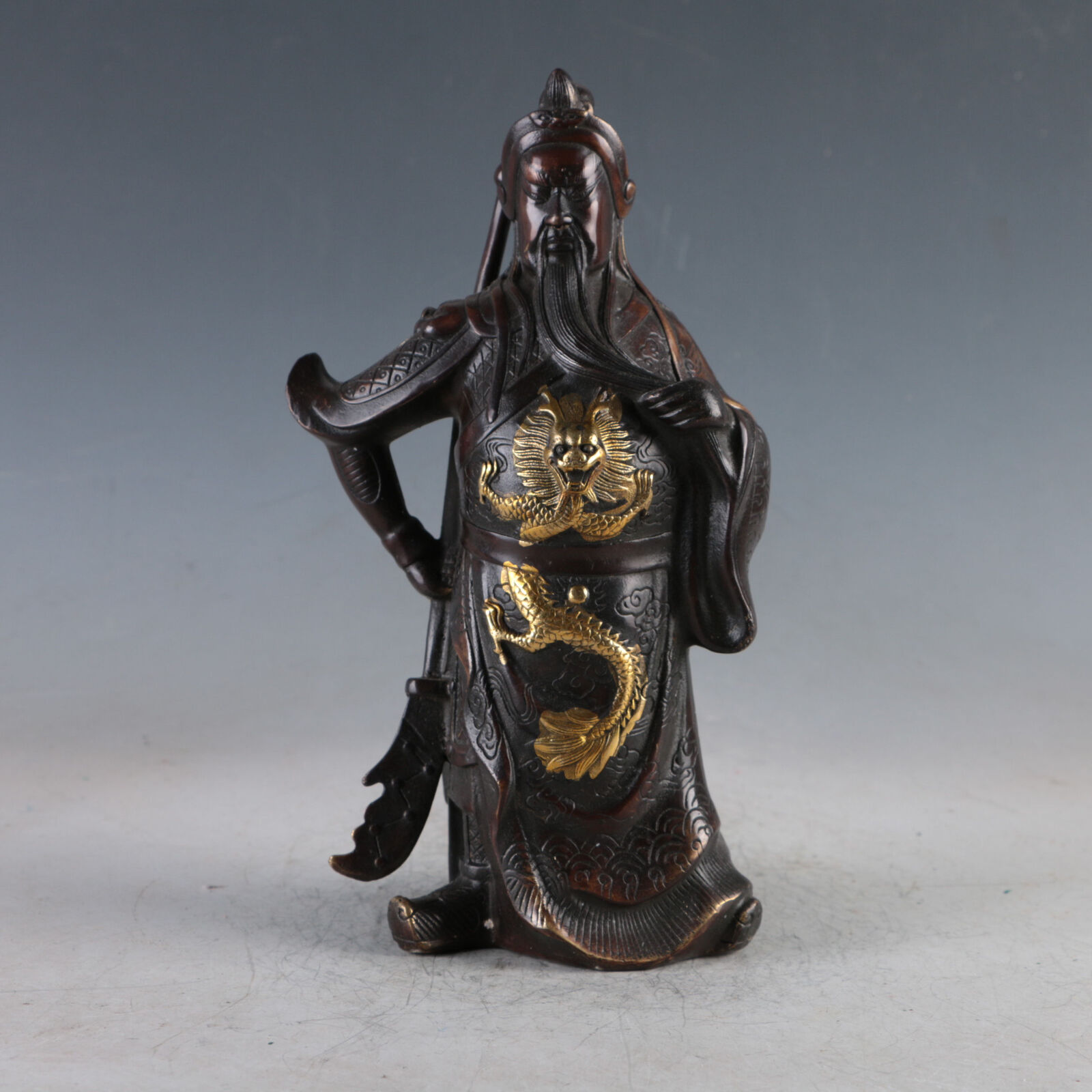 Chinese Antique Decoration Gilt Copper Guan Gong Guan Yu Statues Made During The Daming Xuande Period|Statues & Sculptures| |  - title=