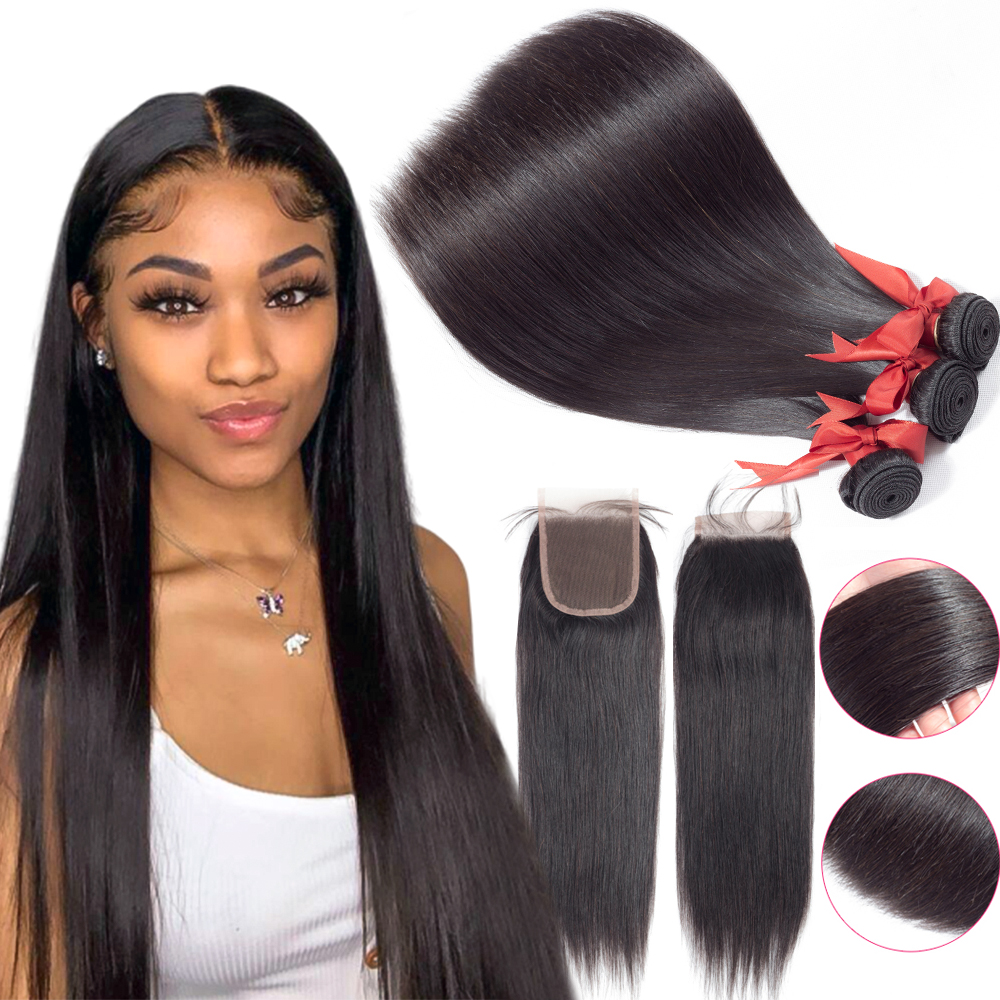 BEAUDIVA 10A Human Hair Bundles With Closure Natural Color Peruvian Straight Hair Weave Bundles With Closure