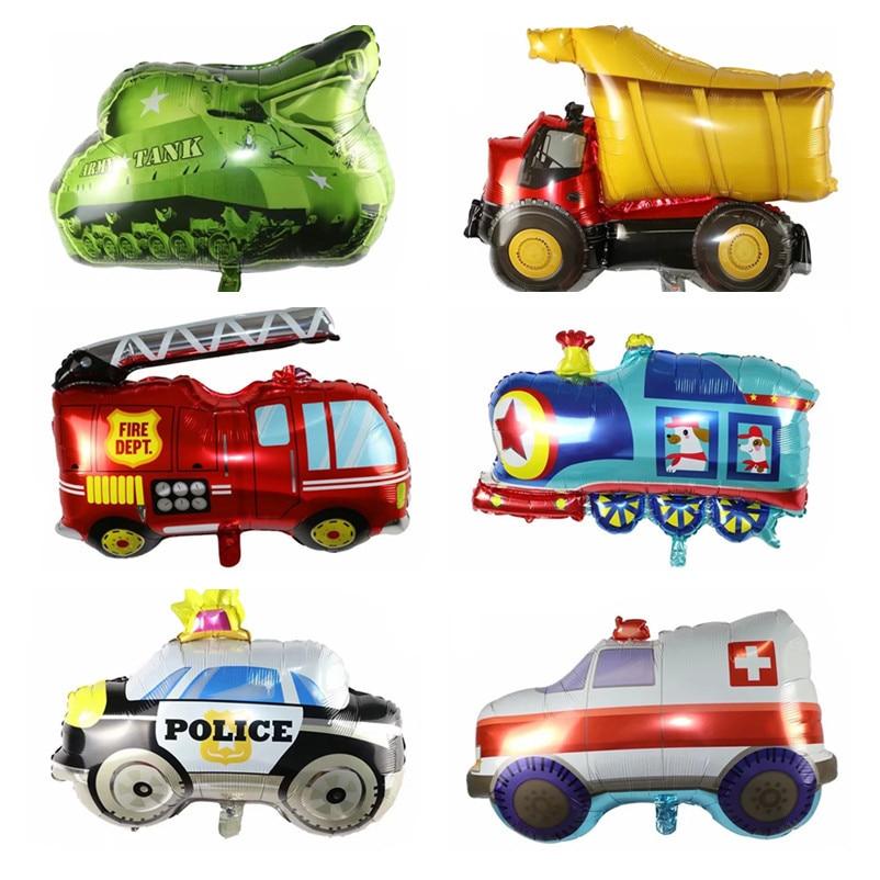 Birthday Party Decoration Baby Shower Cartoon Car Fire Truck Train Ambulance Foil Balloon