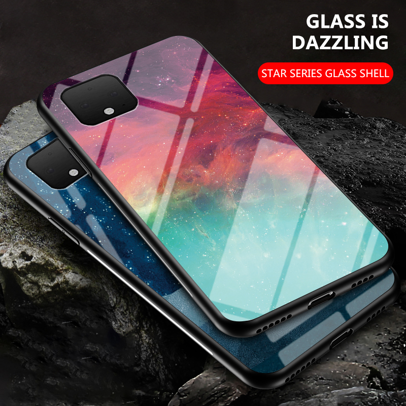 For Google Pixel 4A 3A 4 XL 3 XL Case Slim Starry Sky Space Moon Tempered Glass Phone Case For For Google Pixel 2 1 XL Cover