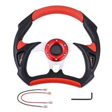 Black Red Aluminum Flat Dish Car Steering Wheel with Horn Drifting JDM Racing Sport Leather Effect