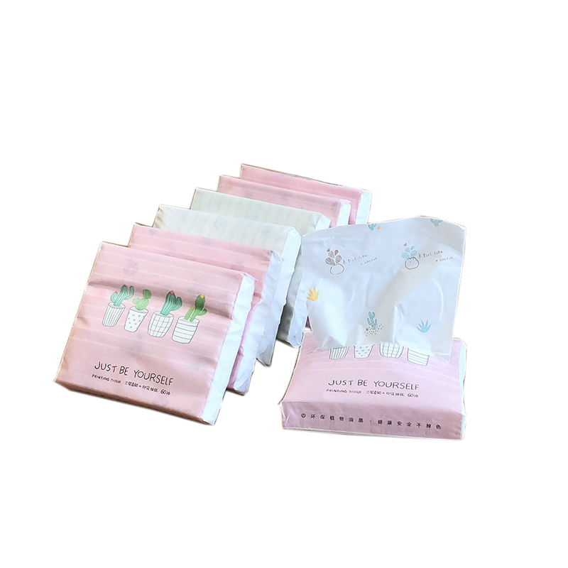 24 Packs Disposable Facial Paper Tissues Thickened Cute Colorful Cartoon Printing Napkins Portable Car Home Party Decor 60Pcs/Pa