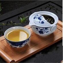 CJ226 чайный набор включает 1 чайник 1 чашку элегантный gaiwan красивый и легкий чайник синий и белый фарфоровый чайник