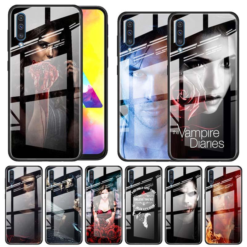 El vampiro diarios Funda de vidrio templado para Samsung Galaxy A10 A20 A30 A40 A50 A70 A51 A71 A81 A91 A31 A41 M31 M51 Funda Capa Chica Anime de dibujos animados de Japón TPU suave funda de silicona para el modelo samsung galaxy A7 A8 A9 2018 A10S A20S A30S A40S A50S A60 A70 J6