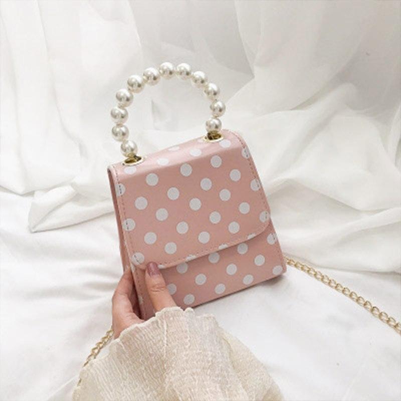 Arsmundi Fashion Women Chain Shoulder Bag Pearl Crossbody Bag  Cute Waterproof Handbag Messenger Wave Point Bag
