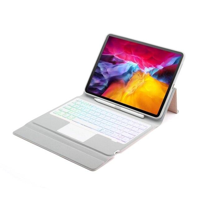 Pour iPad Pro 11 2018 2020 mince 7 couleurs rvb rétro-éclairage sans fil Bluetooth 5.1 russe/hébreu/espagnol Trackpad clavier housse