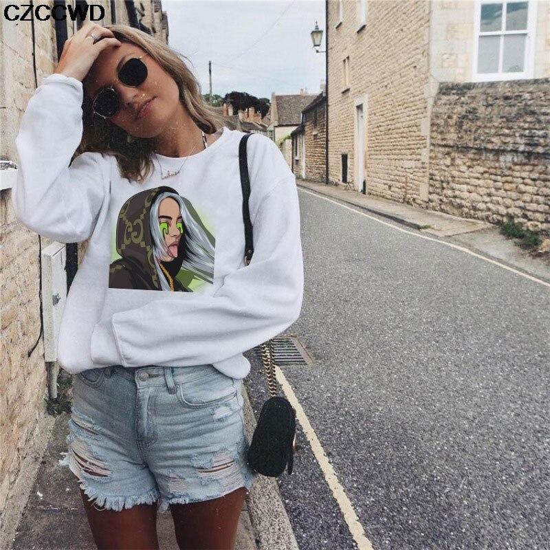 CZCCWD New Female Clothes Harajuku Fashion Streetwear Billie Eilish Sweatshirt Leisure Round Neck Hoodies Hipster Punk Tops XXL