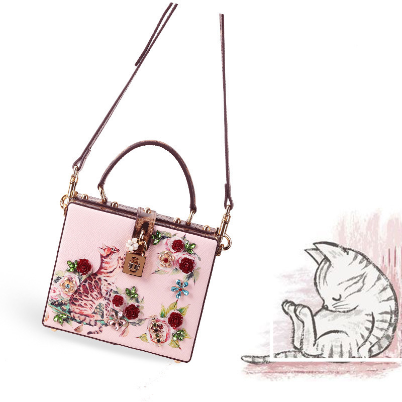 20220 New Luxury Brand Female Genuine Leather Shoulder Messenger Bag Clutch Cat Print Flower Diamond Gem Pearl Women Tote Bag
