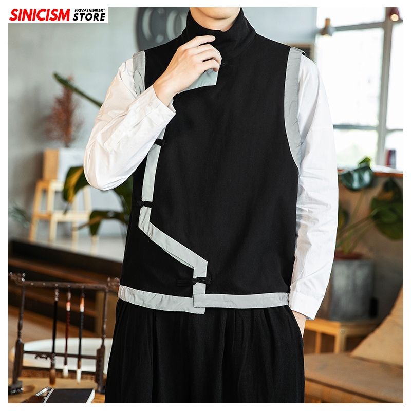 Sinicism Store Male Jacket Men Chinese Style Streetwear Vests 2019 Autumn Thicken Vintage Coats Traditional High Collar Tops