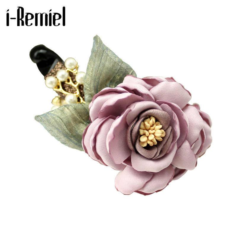 Women/'s Fabric Flower Hair Clips Claws Pins Crystal Hair Accessories Headpiece