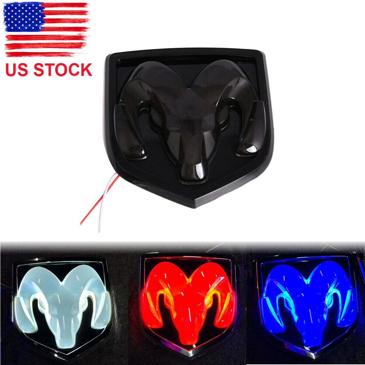 RAM Head Blue/Red/White LED Light Rear Tailgate Emblem for Ram 1500 2500 3500 image