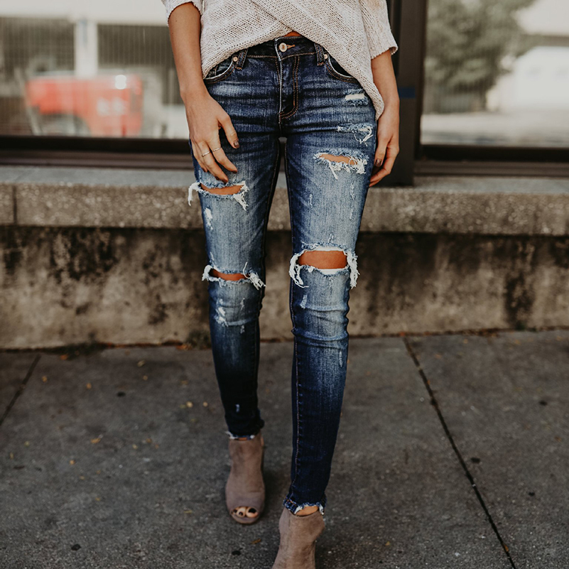 Jeans Slim Jeans Pants New Fashion For Women Waist 2019 Boyfriend High Pocket Pencil Ripped Fall Cotton Casual Summer Denim