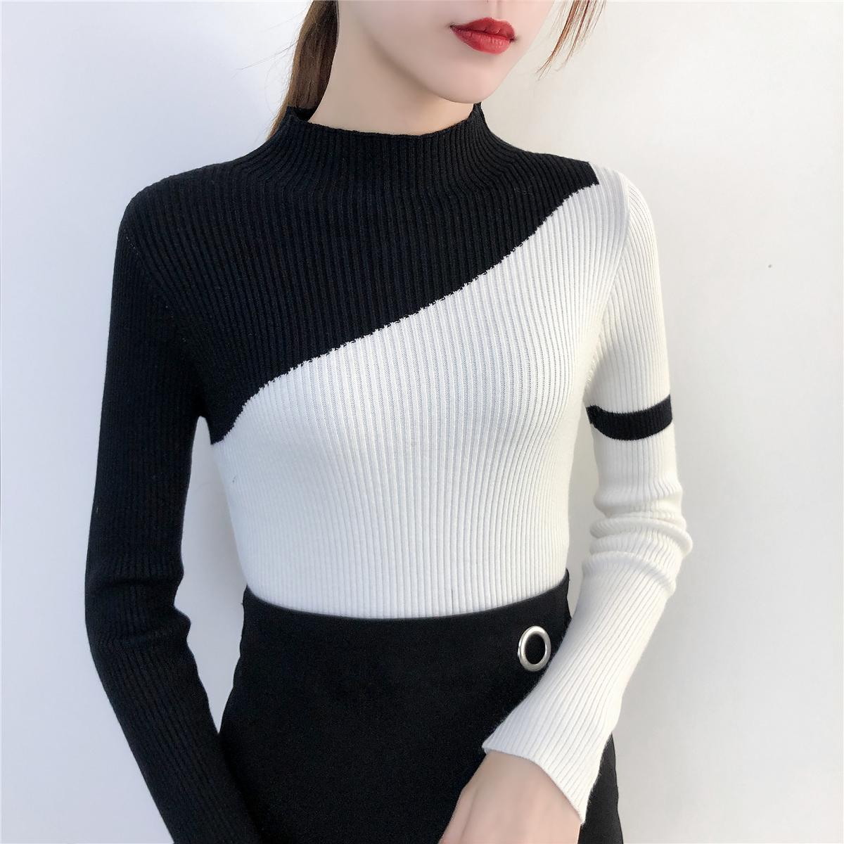 Color Block Sweaters And Pullovers Women Autumn Winter Basic Tops Long Sleeve Stand Collar Knitted Tops Female Ribbed Sweater