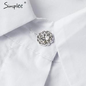 Image 5 - Simplee אלגנטי פרל רשת חולצה חולצה נשים פאף שרוול נקבה לבן למעלה חולצה אביב לבן מזדמן מסיבת ללבוש גבירותיי עבודה חולצות