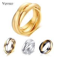 Fashion Interlocked Circle Women Men Ring Gift Jewelry Classic Love Wedding Stainless Steel Bijoux Femme Bague Acier Inoxidable