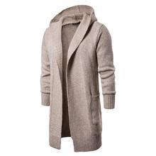 купить Hot Sale Casual Hooded Jacket Sweaters Long Sleeve Knitted Cardigan Sweater Men's Solid Sweaters Slim Fit Outwear Drop Shipping по цене 1946.77 рублей